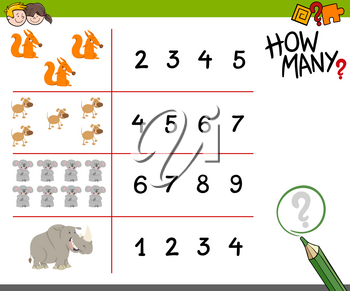Cartoon Illustration of Educational Counting Activity for Children with Cute Animals
