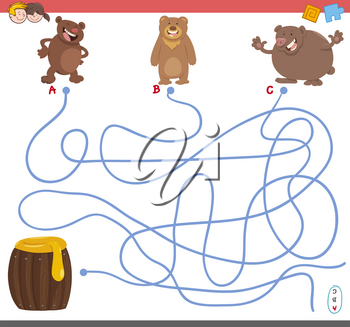 Cartoon Illustration of Paths or Maze Puzzle Activity Game with Bear Animal Characters and Honey
