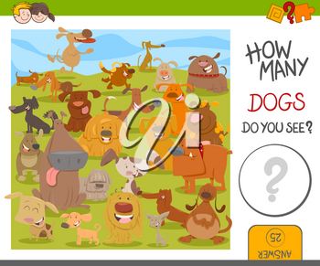 Cartoon Illustration of Educational Counting Activity for Kids with Cute Dogs Animal Characters