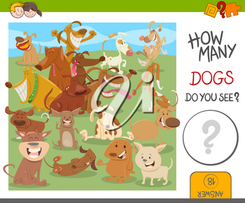 Cartoon Illustration of Educational Counting Activity for Kids with Funny Dogs Animal Characters