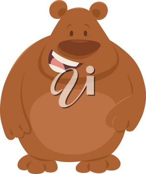 Cartoon Illustration of Cute Brown Bear Animal Character