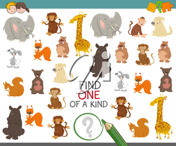 Cartoon Illustration of Find One of a Kind Educational Activity Game for Preschool Children with Cute Animal Characters