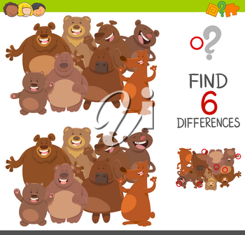 Cartoon Illustration of Spot the Differences Educational Game for Children with Bears Animal Characters Group