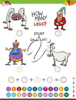 Cartoon Illustration of Educational Mathematical Counting and Addition Game for Children with Funny Characters