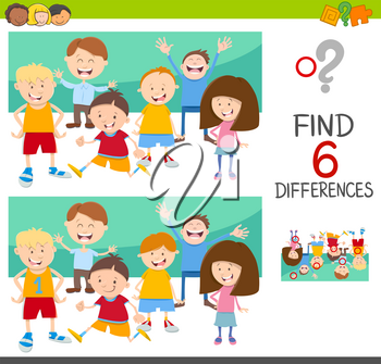 Cartoon Illustration of Spot the Differences Educational Game for Children with Kids Characters Group