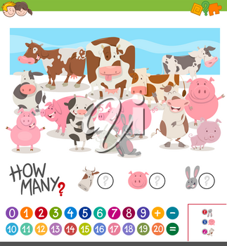 Cartoon Illustration of Educational Mathematical Activity of Counting Farm Animal Characters