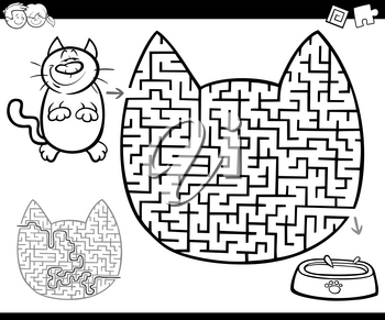 Cartoon Illustration of Educational Maze or Labyrinth Activity Game for Children