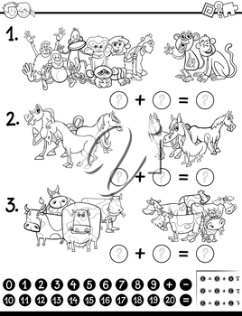 Black and White Cartoon Illustration of Educational Mathematical Game for Children with Animal Characters Coloring Page