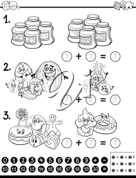 Black and White Cartoon Illustration of Educational Mathematical Activity for Children with Food Objects Coloring Page