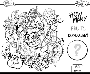 Black and White Cartoon Illustration of Educational Counting Activity Game for Children with Fruit Characters Group Coloring Page