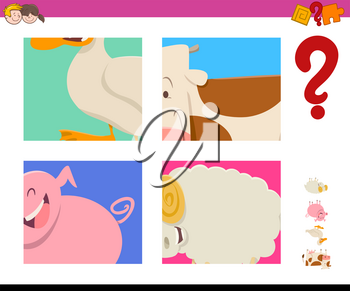 Cartoon Illustration of Educational Game of Guessing Farm Animals for Children
