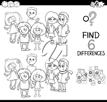 Black and White Cartoon Illustration of Spot the Differences Educational Game for Children with Elementary Age Kid Characters Group Coloring Page