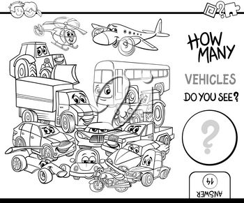 Black and White Cartoon Illustration of Educational Counting Activity for Children with Vehicle Characters Group Coloring Page