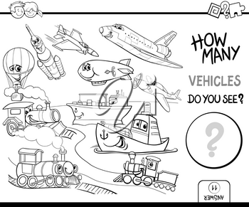 Black and White Cartoon Illustration of Educational Counting Game for Children with Vehicle Characters Group Coloring Page