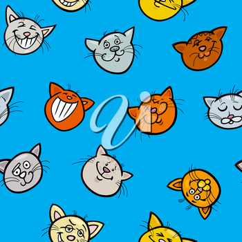 Cartoon Illustration of Cats Animal Characters Wallpaper or Seamless Wrapping Paper Design