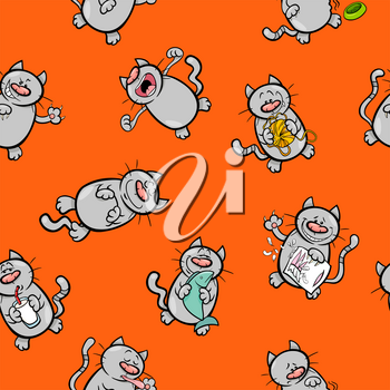 Cartoon Illustration of Cats Animal Characters Wallpaper or Wrapping Paper Design