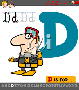 Educational Cartoon Illustration of Letter D from Alphabet with Diver Man Character for Children