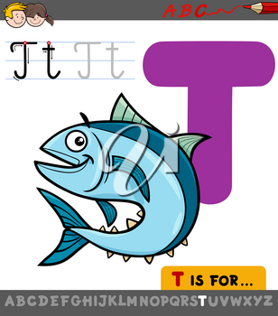 Educational Cartoon Illustration of Letter T from Alphabet with Tuna Fish Animal Character for Children