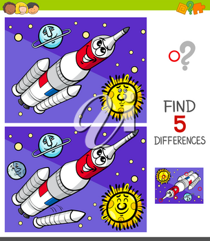 Cartoon Illustration of Finding Five Differences Between Pictures Educational Game for Children with Space Rocket