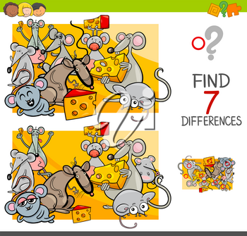 Cartoon Illustration of Finding Seven Differences Between Pictures Educational Activity Game for Kids with Mice Animal Characters Group