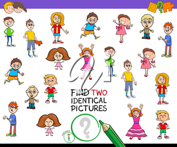 Cartoon Illustration of Finding Two Identical Pictures Educational Game for Kids with Children Characters