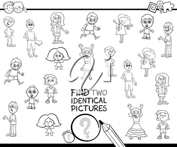 Black and White Cartoon Illustration of Finding Two Identical Pictures Educational Game for Kids with Children Characters Coloring Book