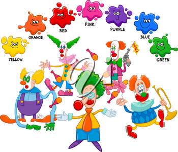 Cartoon Illustration of Basic Colors Educational Page for Children with Clowns Circus Characters