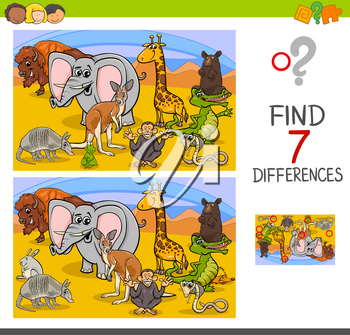 Cartoon Illustration of Searching Differences Between Pictures Educational Activity Game for Children with Wild Animal Characters Group