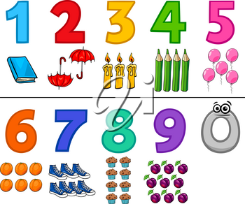 Cartoon Illustration of Numbers Set from One to Nine with Objects