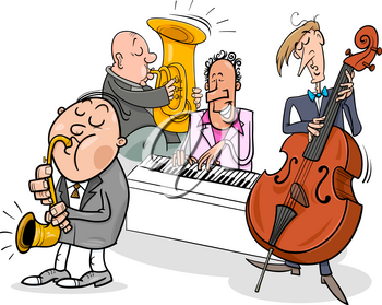 Cartoon Illustration of Jazz Musicians Band Playing a Concert