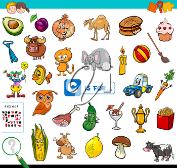 Cartoon Illustration of Finding Picture Starting with Letter C Educational Game Workbook for Children