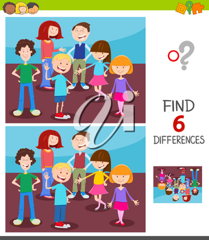 Cartoon Illustration of Finding Six Differences Between Pictures Educational Game for Children with Happy Kids Characters Group