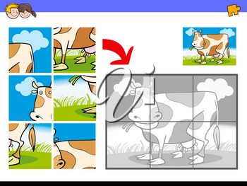 Cartoon Illustration of Educational Jigsaw Puzzle Activity Game for Children with Milker Cow Animal Character