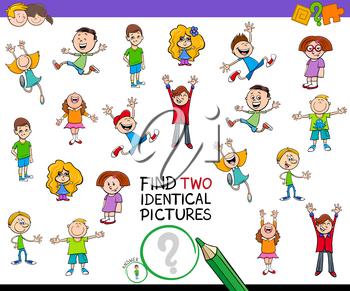 Cartoon Illustration of Finding Two Identical Pictures Educational Game for Kids with Boys and Girls Children Characters
