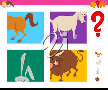 Cartoon Illustration of Educational Game of Guessing Farm Animals Species Characters for Kids