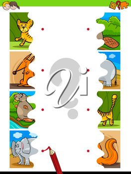 Cartoon Illustration of Educational Pictures Matching Game for Children with Jigsaw Puzzles of Funny Wild Animals
