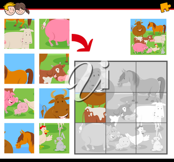 Cartoon Illustration of Educational Jigsaw Puzzle Activity Game for Children with Comic Farm Animals Group