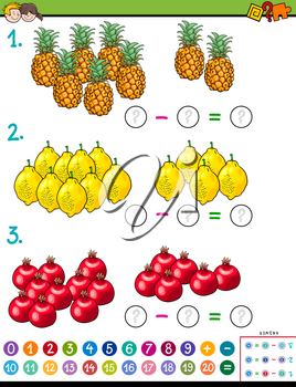 Cartoon Illustration of Educational Mathematical Subtraction Puzzle Game for Children with Fruits