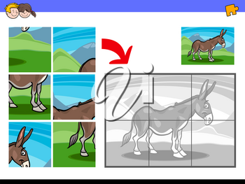 Cartoon Illustration of Educational Jigsaw Puzzle Activity Game for Children with Funny Donkey Farm Animal Character
