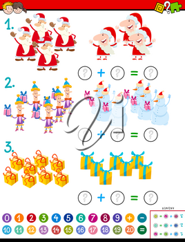 Cartoon Illustration of Educational Mathematical Addition Puzzle Task for Kids with Christmas Characters