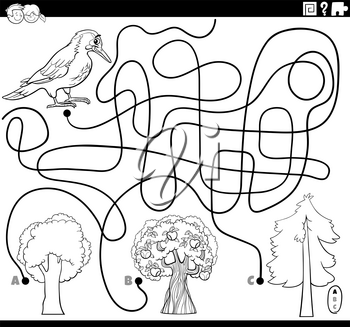 Black and White Cartoon Illustration of Lines Maze Puzzle Activity Game with Woodpecker Bird Animal Character and Trees Coloring Book Page