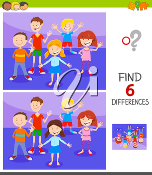 Cartoon Illustration of Finding Six Differences Between Pictures Educational Game for Children with Funny Kids Characters Group