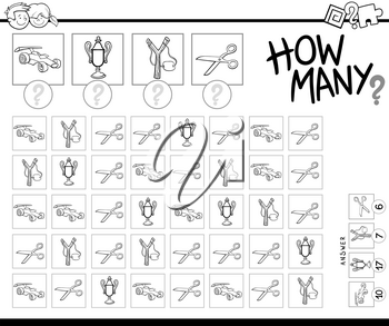 Black and White Cartoon Illustration of Educational How Many Counting Game for Children with Objects Coloring Book