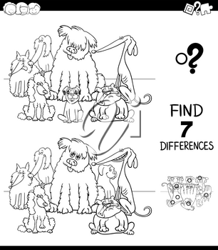 Black and White Cartoon Illustration of Finding Seven Differences Between Pictures Educational Game for Children with Pedigree Dog Characters Group Coloring Book