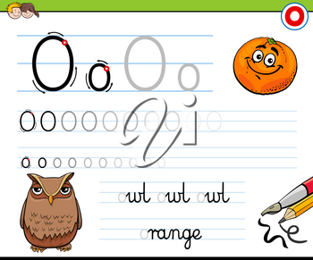 Cartoon Illustration of Writing Skills Practice with Letter O Worksheet for Preschool and Elementary Age Children