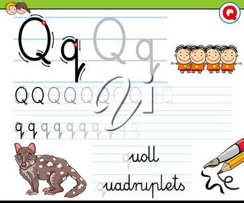 Cartoon Illustration of Writing Skills Practice with Letter Q Worksheet for Preschool and Elementary Age Children