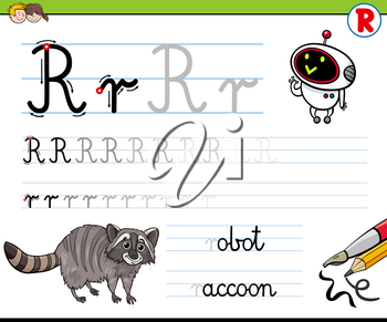 Cartoon Illustration of Writing Skills Practice with Letter R Worksheet for Preschool and Elementary Age Children