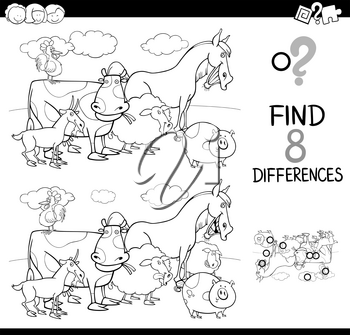 Black and White Cartoon Illustration of Finding Differences Between Two Pictures Educational Activity Game for Kids with Farm Animal Characters Group Coloring Book