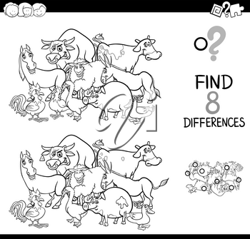 Black and White Cartoon Illustration of Finding Eight Differences Between Pictures Educational Activity Game for Kids with Farm Animal Characters Group Coloring Book