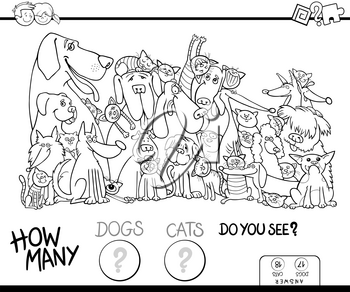 Black and White Cartoon Illustration of Educational Counting Game for Children with Dogs and Cats Animal Characters Coloring Book